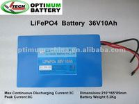 "Hot Seller 10 Ah 36 VLiFePo4 batteries+BMS"": including battery in a bag. for 720W kit."