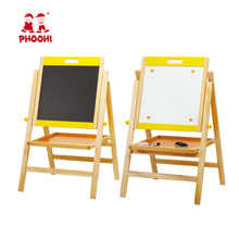 Foldable adjustable double sides wooden chalkboard magnetic kids drawing easel