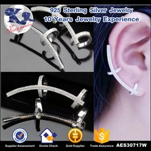 Fashion jewelry cz 925 sterling silver no hole earring