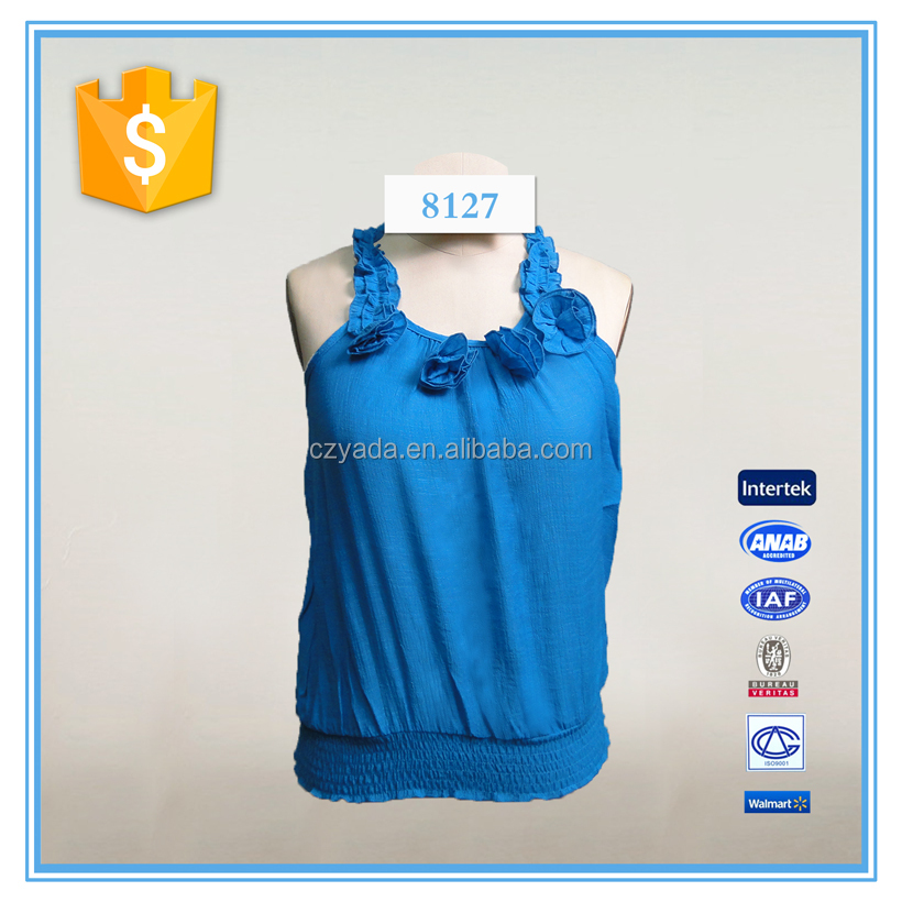 Ladies casual sleeveless fashion blouse front neck design top
