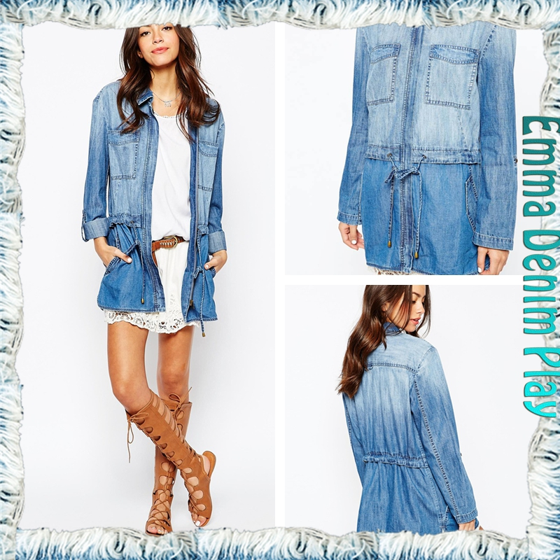 Drawstring Belt Waisted Long Women's Blue Denim Fashion Jean Jacket With Flank Pockets High Quality Faded Washing