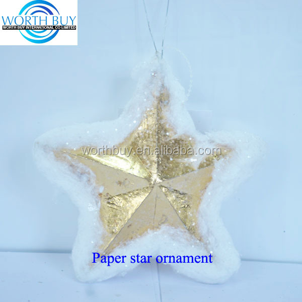 Dia 12.5cm golden lucky paper star w/ snow decorated from Shenzhen factory