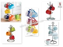 Steel Wire Revolving Countertop Coffee Mugs Tree Display Holder/Household Kitchen Plastics Coffee Cup Display Rack/Mugs Stand