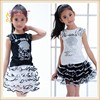 Hot selling baby girls branded casual Apparel stock two pieces sets with a short layer dress