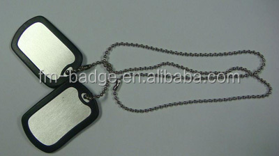 blank military aluminum dog tag with silencer and necklace chain,Europe Regional Feature and Souvenir Use Blank Dog Tag