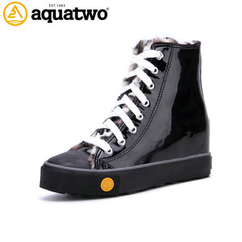 China Factory Aquatwo Branded Women Canvas Black High Cut Shoes with Zipper