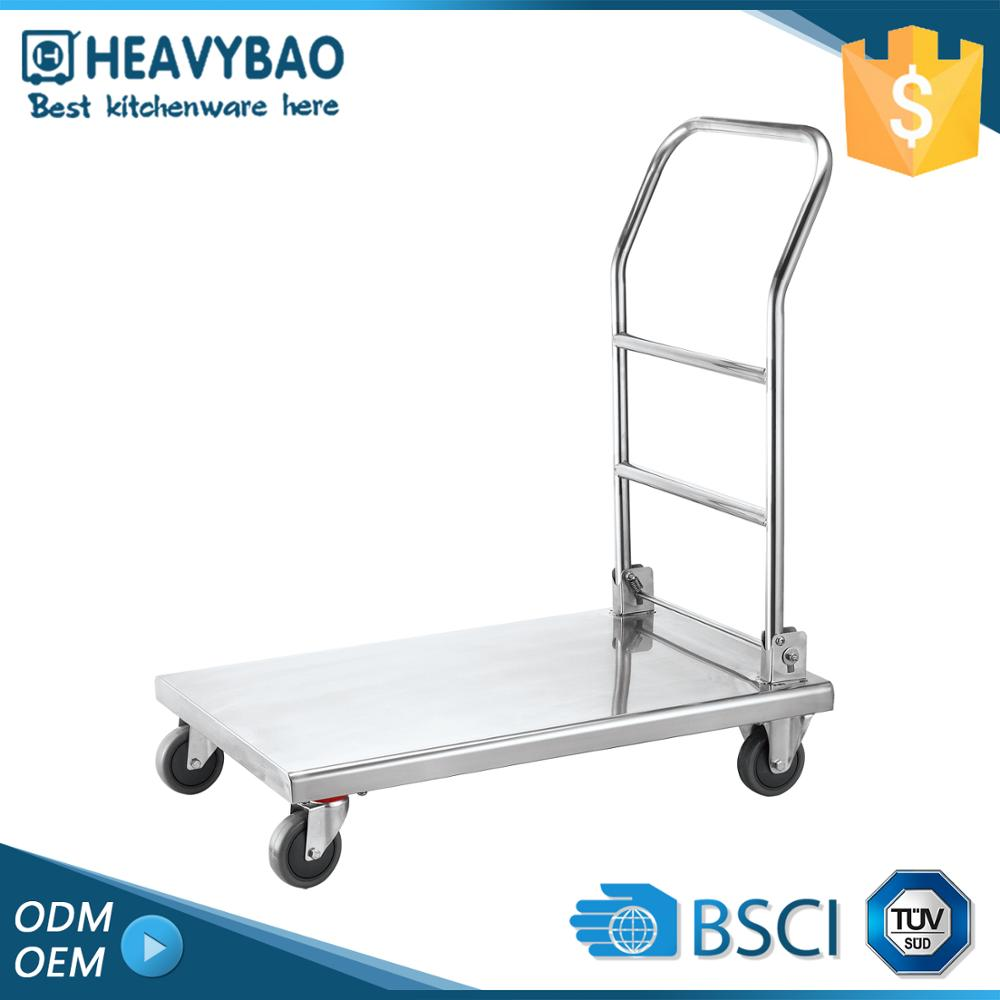 Stainless Steel Industrial Pull Push Large Wheel Folding Cart