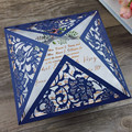 2017 Unique Navy Laser Cut Floral Wedding Stationery for Marriage Invitation
