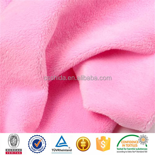 OEKO-TEX 100 china manufacturer polyester material pink minky fleece fabric