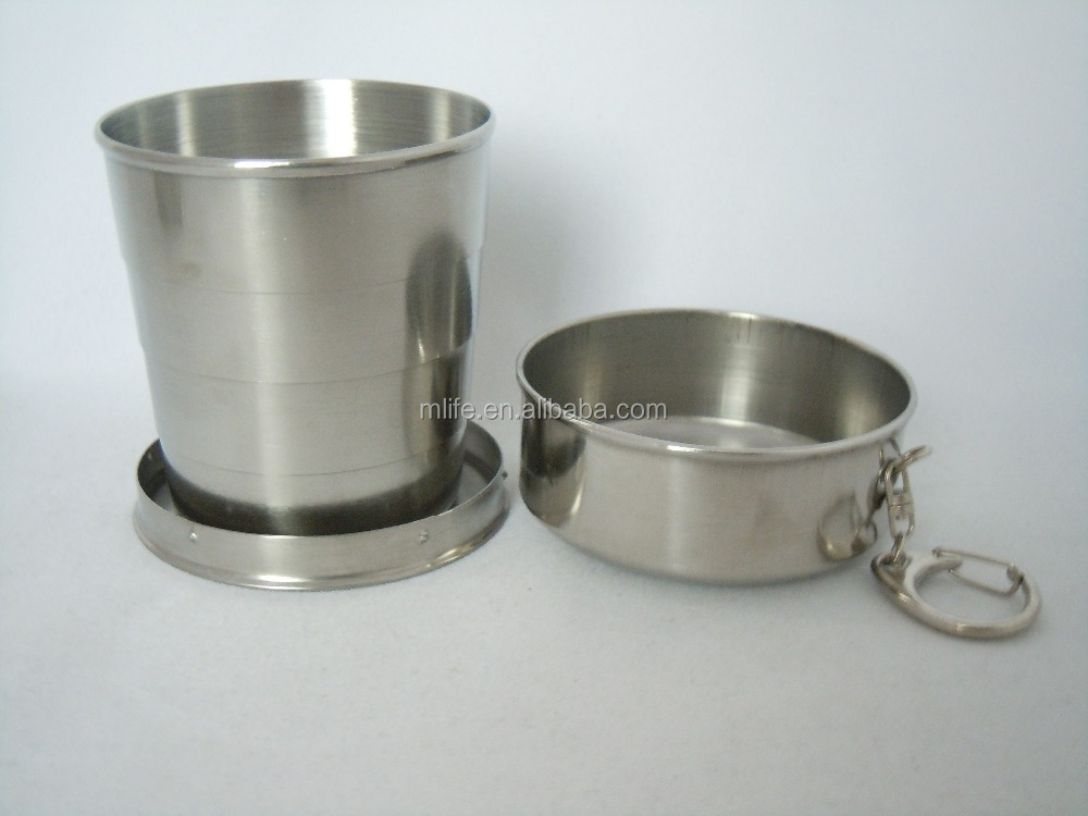 Mlife 75ML Stainless Steel Collapsible Cup Outdoor Travel Portable Folding Cup With Key Chain