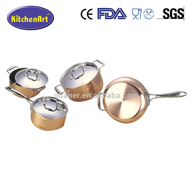 12pcs stainless steel sandwich bottom copper kitchenware stainless steel cookware set