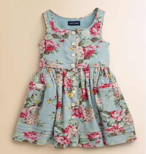 2016 fashion Toddler's & Little Girl's Floral Sundress baby girls&girl party birthday dresses&dress patterns