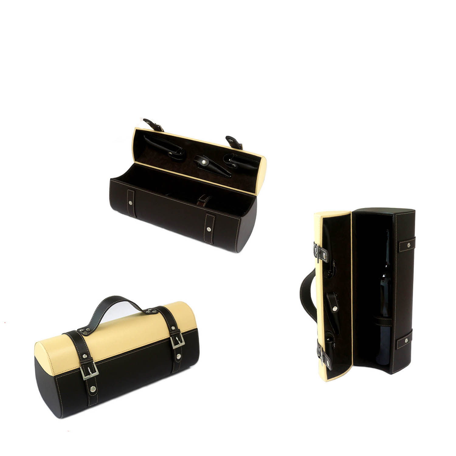 makeup travel box Personalized zipper closure  travel leather single-bottle wine box
