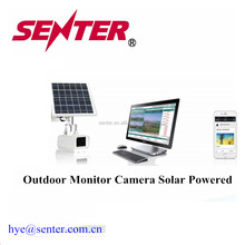 Outdoor Android Monitor camera wireless solar power with battery inside used outdoor GSM/3G/4G comunications Window web app