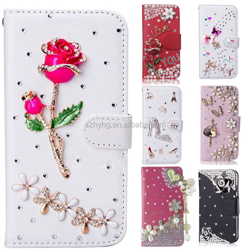 Wallet Cover For Mobile Phone Rhinestone Case Diamond Bling Leather Flip Card Cover