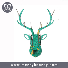2017 New Art Home Office Bar Wall Decoration Wood Crafts Creative Wooden Deer Head Wall Hanging Animals Head