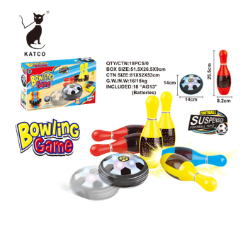 Indoor sports B/O air power hover ball bowling set for kids