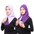 two tone chiffon muslim women one peice hijab islamic scarf HS107
