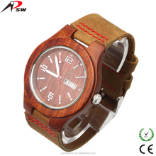 Low moq 2017 new custom design leather wood watch