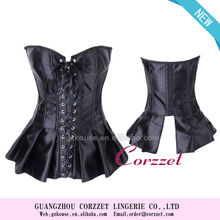 2013 stain ribbon overbust corset ,corset and short skirt