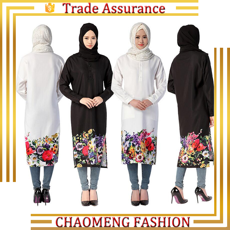 High Quality Fashion Islamic Causal Top Flower Print Short Long Sleeve Blouses For Muslim Women Tunics Plus Size Tops Clothing