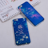 Luxury Electroplating Soft TPU Bling Blue Light Mobile phone case for iphone 6 6s back cover night Star Skull