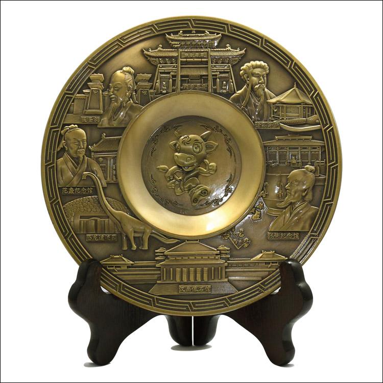 Decorative carving antique bronze souvenir metal plates