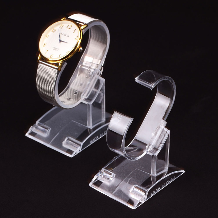 transparent plastic holder c shape acrylic watch display stand