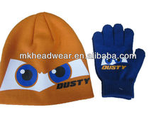 2013 Fashion Knitted Hat and Glove set for kids with rubber printing design