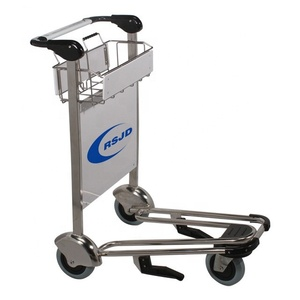 Stainless steel hotel airport luggage cart with hand brake