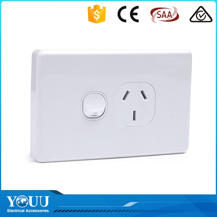 YOUU Australian Style High Quality 250VAC One Gang One Way Wall Switch With Light