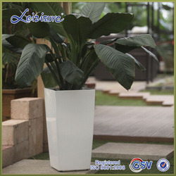 Premium GQ5 hot sell plastic self watering wood like pottery pots & planters