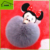 Promotional Gift 8cm Real Rabbit Fur Pocket Makeup Mirror Mickey Keychain