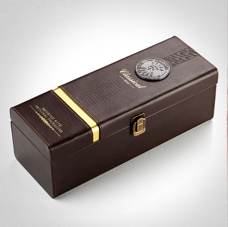 Alibaba wholesale custom 1 bottled <strong>wine</strong> box, luxurious leather gift boxes, deep coffee color portable display box