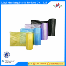 HDPE garbage bags on roll with paper lable colorful garbage bag