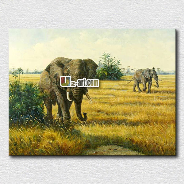 <strong>Decoration</strong> cotton canvas elephant oil painting