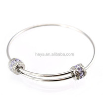 Top sale 316L silver adjustable stainless steel bracelet expandable bangle