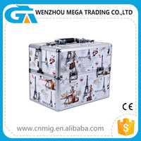 PVC Surface Aluminum Frame Train Makeup Case