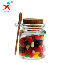 small glass candy jar with cork lid and spoon/mini glass jar