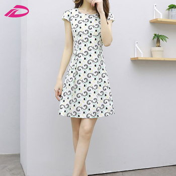2017 new hot sale design women printing fashion ladies dress