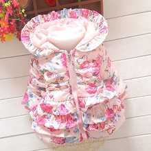 New Autumn Winter Children Outerwear Girl's Flower Frill Jacket Coats With Hooded