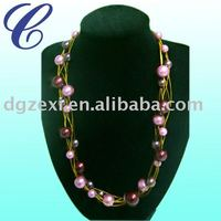 wire glass pearl necklace
