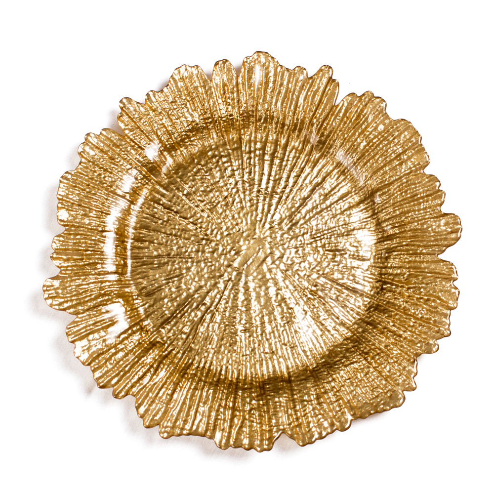 China supplier Cheap wholesale Reef Glass Charger Plate with Gold color
