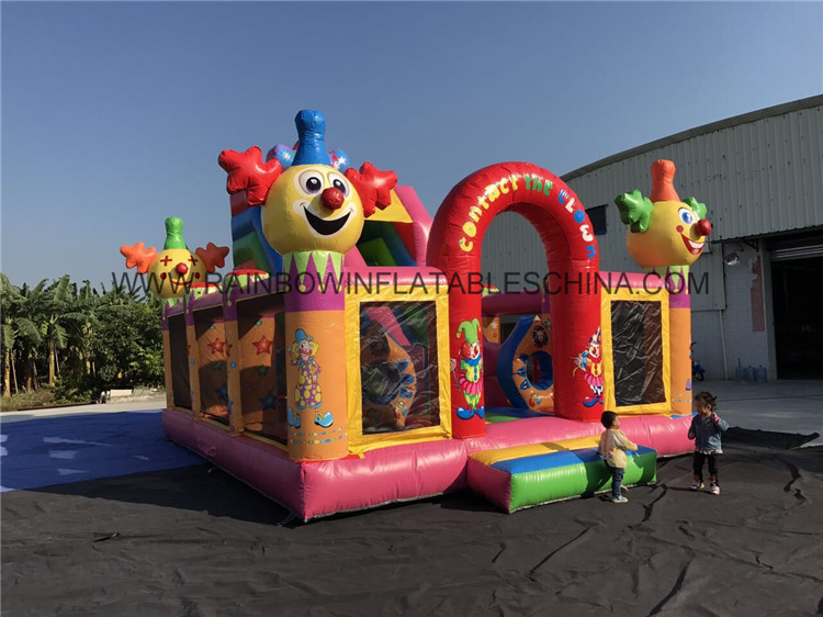 Kids Inflatable Clown Funcity And Bounce House Made By Top 0.55mm PVC Material
