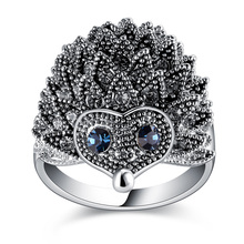 Hedgehog Design Costume Jewelry Owl Shaped Ring Animal Head Ring