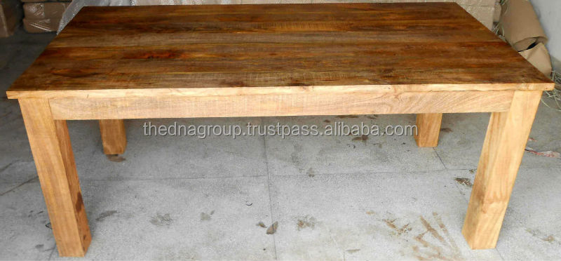 Rustic Finish Solid Mango Wood Folding Dinning Table