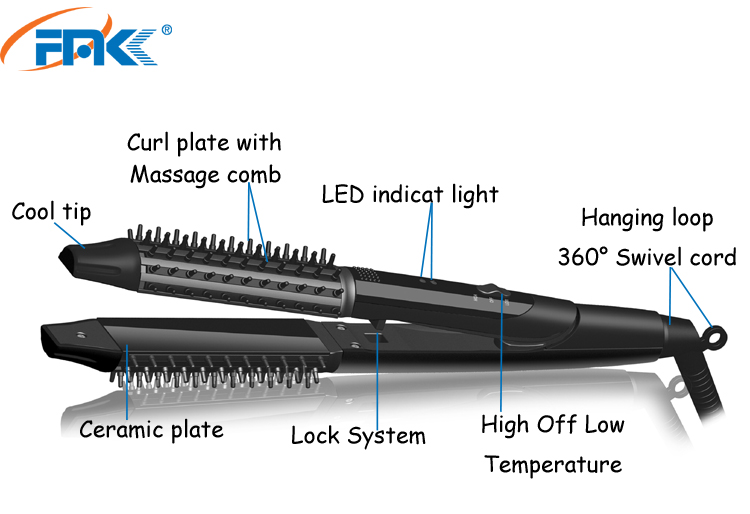 Lock system 1 inch ceramic curling wand hair straightener 2 in 1 with massage comb home use hair Curing brush