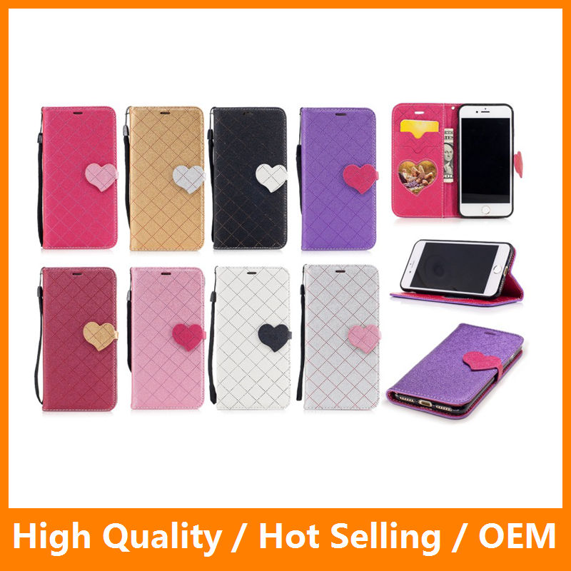 Magnetic Wallet Leather Case with Hear Love PU Leather Stand Flip Case for iPhone 7 7 Plus Galaxy s8 s8 edge for Huawei P10