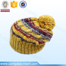 2016 Thick warm striped Multi-colors knit beanie with ball