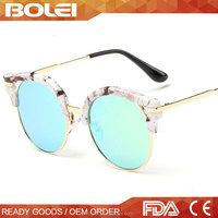 Marble frame clubmaster sunglasses with flash mirror lens